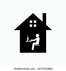 Working From Home Icon. Freelancer Vector. Entrepreneur or Home Business Symbol.