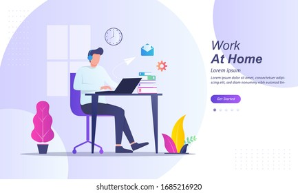 Working from home at relaxed place, freelancer working on computer at home, coworking space, part time outsources, remote job, Suitable for web landing page, ui, mobile app, banner template.
