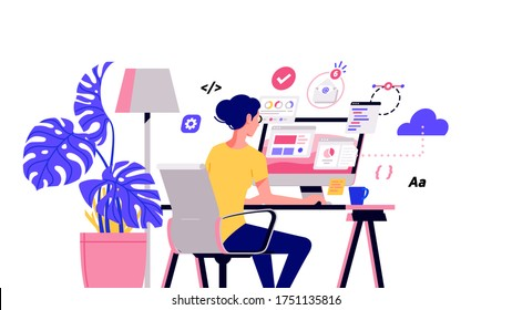 Working at home vector flat style illustration. Online career. Coworking space illustration. Young woman freelancers working on laptop or computer at home. Developer at home in quarantine