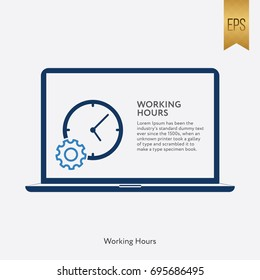 Working Hour Icon Flat Isolated Vector Laptop Symbol Silhouette