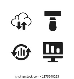 working icon. 4 working vector icons set. monitor, transfer and blade icons for web and design about working theme