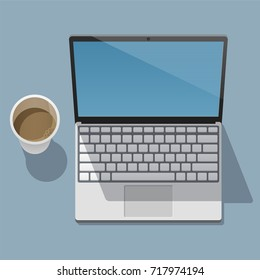 Working laptop with an open screen and coffee cup is on a flat surface and casts a shadows on it. View from above. Vector illustration in a trendy flat style