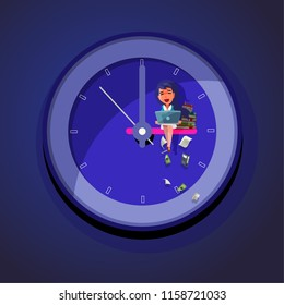 Working Late. office girl working hard till late night on wall clock - vector illustration