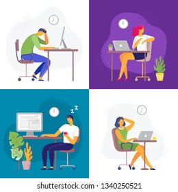 Working late. Overtime work, busy workaholic worker and employees with office laptops. Deadline, graphic designer professionals lifestyle or stressed employee flat vector illustration set