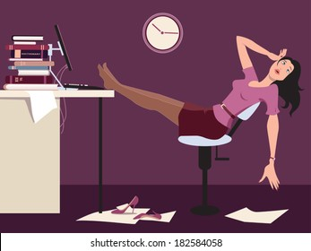 Working late. Tired woman sitting at the desk in an office late at night, vector cartoon