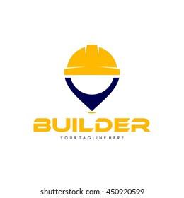 Working man, Construction builder logo template