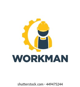 Working man for construction logo template