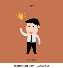 Working Man with Light Bulb Idea