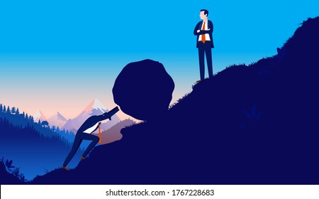 Working for the man - Oppressive leader making employee work very hard. Manual labour, unappreciative boss and oppression concept. Vector illustration.