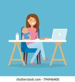 Working mom - young woman holding a baby working at a desk with laptop. Vector illustration in flat style
