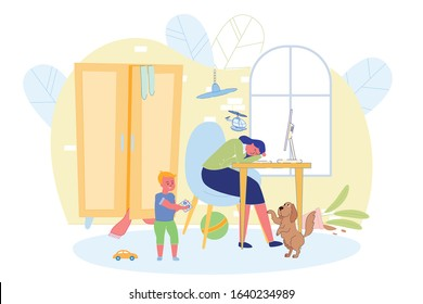 Working Mother can not Fully Work at Home Banner. Mother Lay Down at Table, her Son Plays with Helicopter and Holds it Over her Head, Dog under Table Asks Mistress Pay Attention to it.