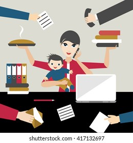 Working mother with child in business office. Multitasking person. Flat vector.
