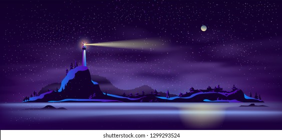 Working at night alone lighthouse on wild rocky island seashore in northern sea cartoon vector background. Sailing and navigation in unfamiliar waters, dangerous lands, winter shipping season concept