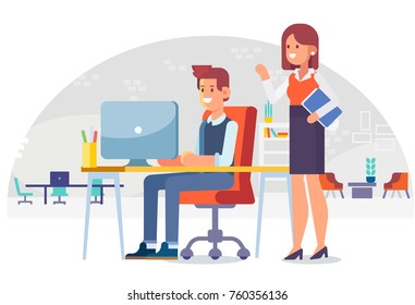 Working in the office. Lady boss and office worker. Cartoon style, flat vector illustration.