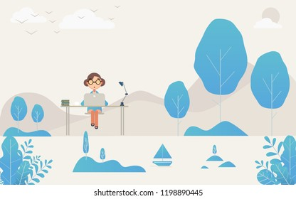 working ofice  on sea flat design,fantasy leaves background template vector illustration flat design
