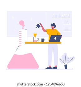 Working on chemist lab web template, cartoon style Screen web template for mobile phone, landing page, template, UI, web, mobile app, poster, banner, flat Vector illustration