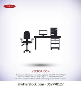 Working on Computer. Vector illustration