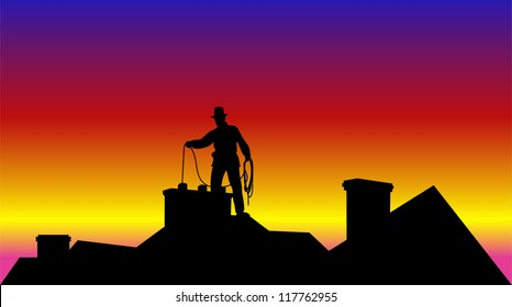 working on the roof chimney sweep - background