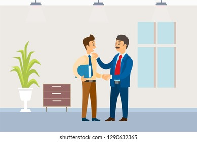 Working order, boss giving instructions to employee, conversation between colleagues. Leader encouraging coworker, praising for good job, interior design