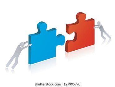 Working people building puzzle. Concept of teamwork and success.