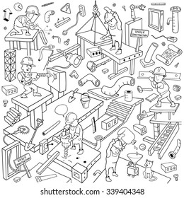 "Working People Cover Pattern. Funny Building Area. Background for ""Under Construction"" Theme. Black and White Doodles Vector Illustration"