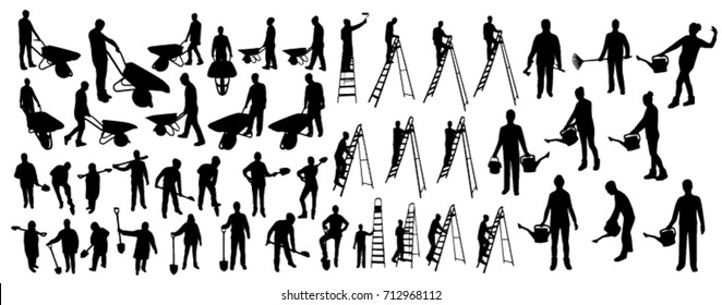 Working people silhouettes