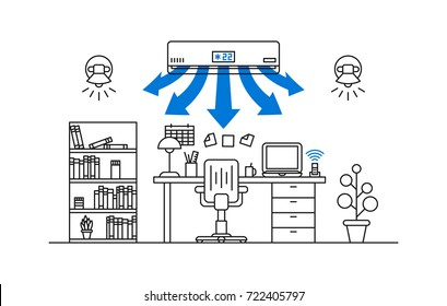 Working place air conditioner vector illustration. Open space office room with air conditioner line art concept.