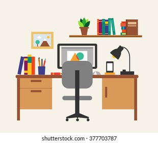 Working place interior with work table, chair, computer, book shelf, vector illustration