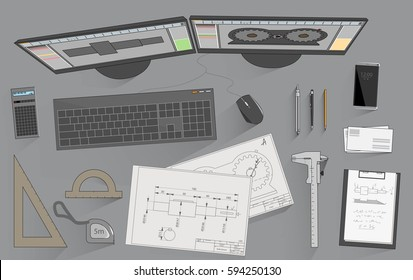 Working place of mechanical design engineer