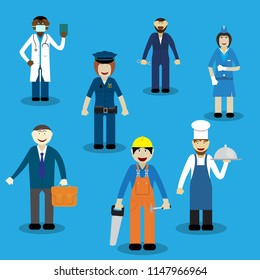 Working professions stewardess, chef, mechanic, doctor, Builder, police, lawyer