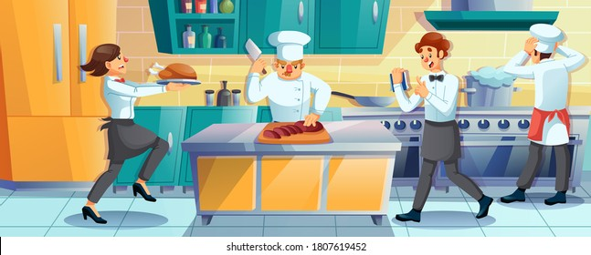 Working restaurant staff. Man cooking using professional equipment. Cook, chef, cookery assist, waiter employee rush at kitchen. Lack of time. Speed food preparation. Busy cartoon character in uniform