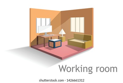 Working room office in house ,isometric  and perspective design,computer and sofa interior design,vector art and illustration.