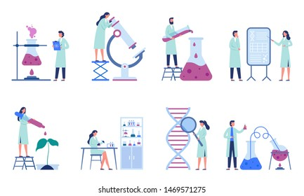 Working scientists. Professional lab research, chemistry laboratory workers and science researchers. Infection scientists, biologist engineer working. Isolated flat vector illustration icons set