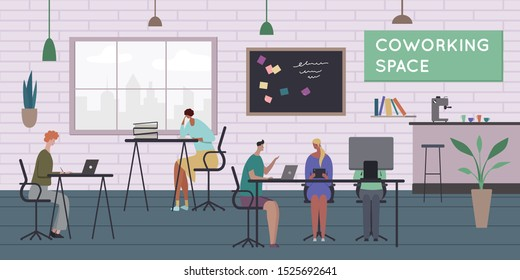 Working space composiion with text and indoor interior of time cafe and persons with books computers vector illustration