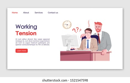 Working tension landing page vector template. Everyday stress website interface idea, flat illustrations. Workplace homepage layout. Demanding boss. Nervous worker web banner, webpage cartoon concept