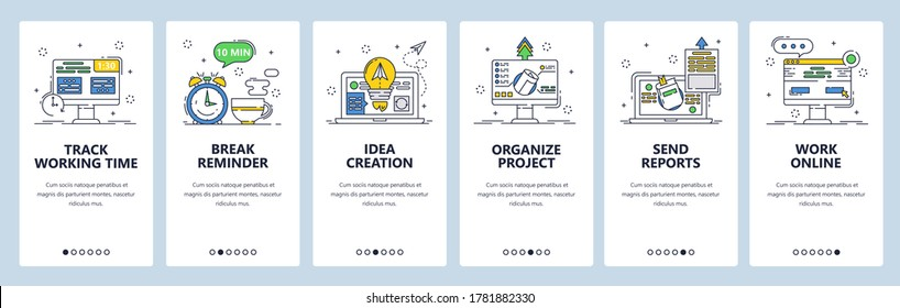 Working time tracking app. Organize project, track work hours, share reports break reminder. Mobile app screens. Vector banner template for website and mobile development. Web site design illustration