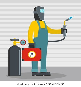 Working welder icon. Flat illustration of working welder vector icon for web