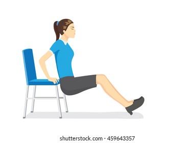 Working woman doing office stretching exercises with office chairs in working time.
