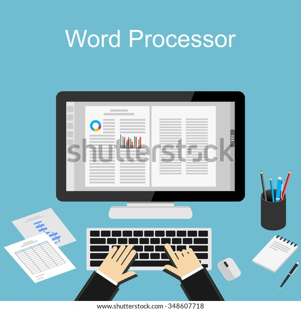 Working Word Processor Illustration Stock Vector Royalty Free 348607718