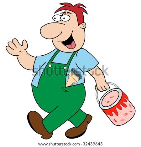 Workman Cartoon Character Carrying Paint Pot Stock Vektorgrafik