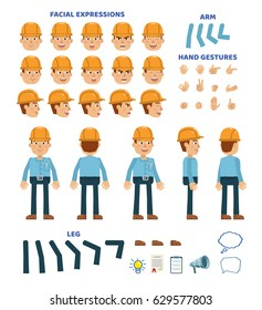 Workman character creation set. Various gestures, emotions, diverse poses, views. Create your own pose, animation. Simple style vector illustration