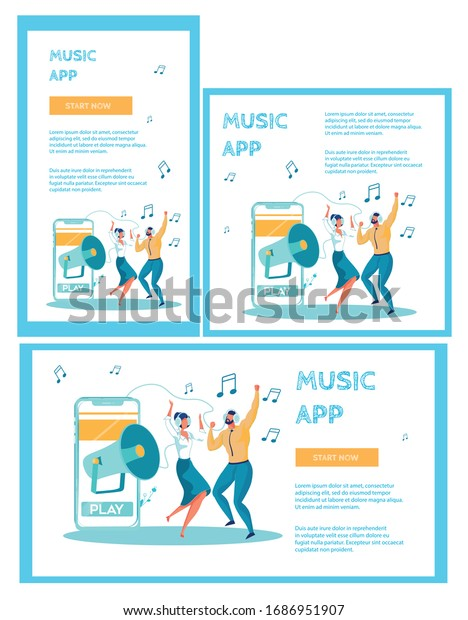 Workmates, Man and Woman Dressed Smart and Looking Like Office Workers, Wearing Headphones and Dancing to Loud Music, Heard from Megaphone in Smartphone. Three Flat Vector Banners with Copy Space.