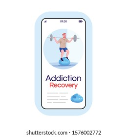 Workout addiction social media post smartphone app screen. Mobile phone display with cartoon character design mockup. Gym addict treatment, obsession recovery application telephone interface