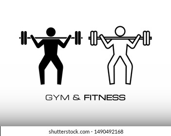 Workout and Exercise in the Gym or Fitness Centre with uses Barbell Icon Vector. This Image Consist of Two Variation Workout, i.e Glyph Style and Outline Style. Isolated on White Gradient Background.
