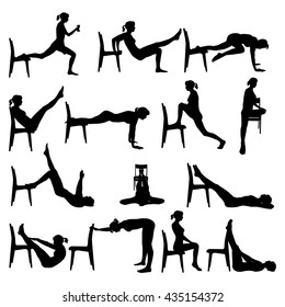 Workout exercises at home with a chair. Silhouette of a woman in various poses.