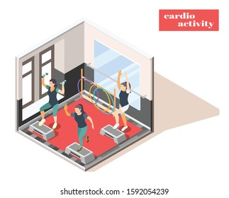 Workout fitness center facility interior isometric composition with cardio activity and hand weights indoor exercising vector illustration