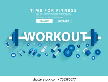 Workout fitness concept workout with equipment. Vector illustration modern layout template flat design