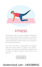 Workout and fitness, girl lifting legs on mat or rug vector. Healthy lifestyle and sport tips online web page template, buttocks and legs muscles pumping
