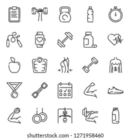 Workout and fitness icons collection