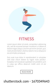 Workout and fitness training, woman doing squats vector. Legs and buttoks muscles pumping, healthy lifestyle and sport exercise, isolated female character